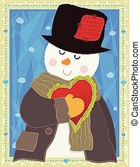 Snowman Holding Heart
