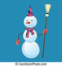 Snowman holds a broom in his hand with top hat and scarf isolated on white background. Winter theme. Vector character illustration