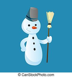 Snowman holds a broom in his hand with top hat isolated on white background. Winter theme. Vector character illustration