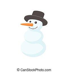 Snowman icon, cartoon style