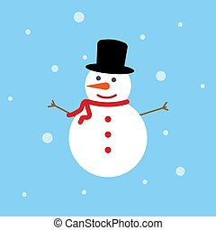 Snowman icon flat style on blue background