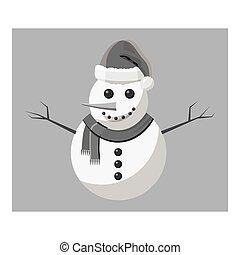 Snowman icon, gray monochrome style