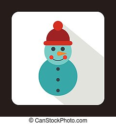 Snowman icon in flat style