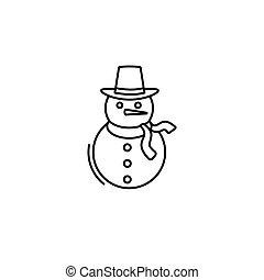 snowman icon in line art style. Vector illustration esp 10
