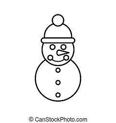Snowman icon, outline style
