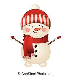 snowman, icono, sombrero de navidad