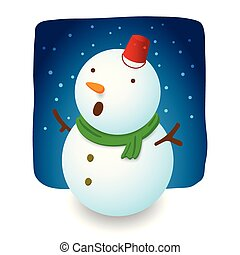 Snowman illustration character design is excite with falling snow, red hat bucket, carrot nose and green scarf on night background