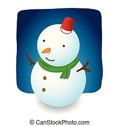 Snowman illustration character design is smile with red hat bucket, carrot nose and green scarf on night background