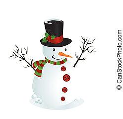 snowman, ilustración, lindo