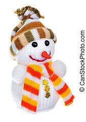 snowman in a knitted hat and scarf