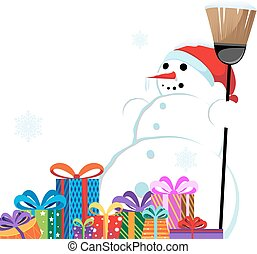 snowman in a red Santa Hat with a b