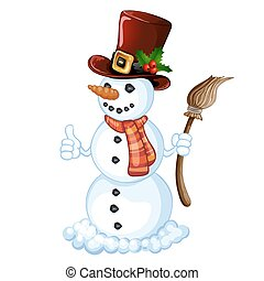 Snowman in a striped scarf and hat