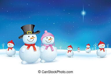 Snowman in Christmas - illustration of snowman celebrating...