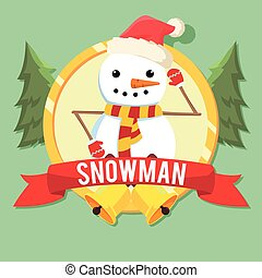 snowman in circle colorful
