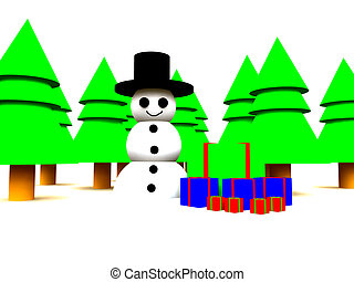 Snowman In Forest - A Christmas scene of a snowman in a ...