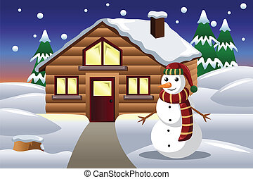 Snowman in front of a house
