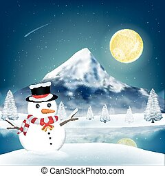 snowman in front of winter lake with big mountain