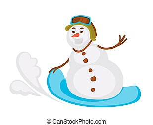 Snowman in helmet with protective glasses rides snowboard