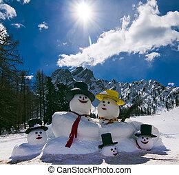 Snowman in Italian Alps