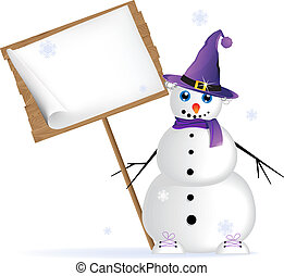 Snowman in lilac hat