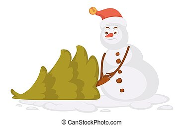 Snowman in red Christmas hat carries small spruce