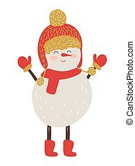 Snowman in Red Hat and Scarf Vector Illustration