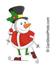 Snowman in Santa Dress Skiing