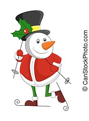 Snowman in Santa Dress Skiing