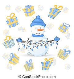 Snowman in scarf, boots, mittens, and a hat and with garlands in their hands. postcard for the new year and Christmas. Isolated objects on white background. Cute cartoon gifts for birthday.