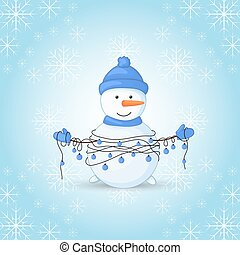 Snowman in scarf, boots, mittens, and a hat and with garlands in their hands. postcard for the new year and Christmas. Isolated objects on white background.