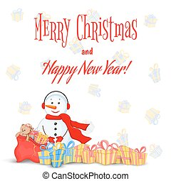 Snowman in scarf, boots, mittens and headphones. postcard for the new year, Christmas. Isolated objects on white background. Template for text, congratulations. Quencies with gifts and sack of toys