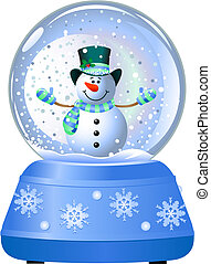 Snowman in Snow Globe - Happy snowman in Snow Globe. Vector...