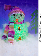 Snowman in the Winter Forest