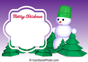 Snowman in winter forest with a frame for congratulations...