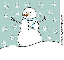 Snowman in winter - Happy Christmas snowman in winter.
