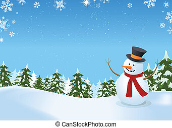 Illustration of a snowman inside winter landscape with pine trees, firs and space for your message
