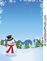 Snowman In Winter Landscape