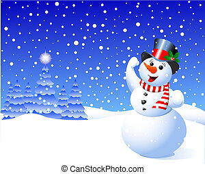 Snowman in winter scene amidst falling snow flakes