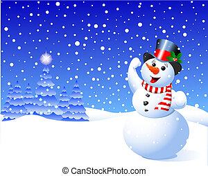 Snowman in winter scene amidst falling snow flakes