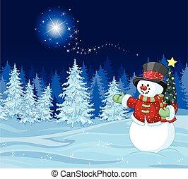 Snowman in winter scene Shutting star