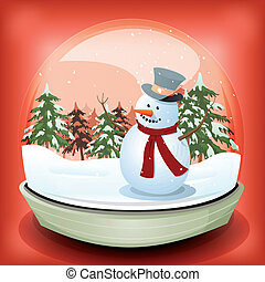 Illustration of a cartoon christmas and winter snowman inside snowball toy with pine trees, firs, and snowflakes falling