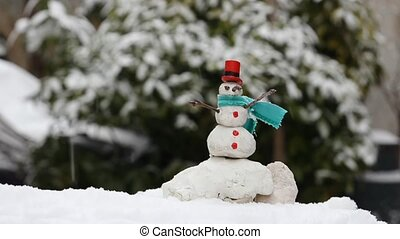 snowman in winter time