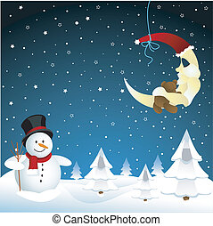 snowman, invierno, luna