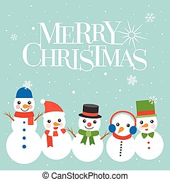 Snowman isolated on Blue background, Snowman greeting collection illustration vector for Christmas, flat design