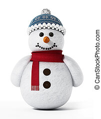 Snowman isolated on white background. 3D illustration