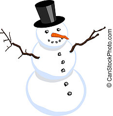 Snowman with stovepipe hat isolated on white background