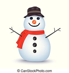 Snowman isolated vector on white background. Vector illustration can use for Christmas and New year element.