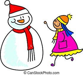 snowman kid - happy little girl talking to a snowman -...