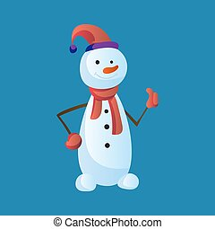 Snowman Like with top hat and scarf isolated on white background. Winter theme. Vector character illustration