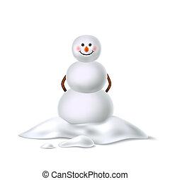 snowman, lindo, palos, realista, vector, sombrero